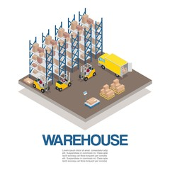 Warehouse with forklifts and truck isometric vector illustration. Storage 3d warehouse isolated on white. Palletes and boxes for storage and transportation with cargo machinery.