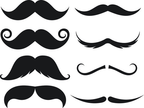 Set of moustache. Decorative elements for booth. Illustrations of accessories or symbols elements. Vector illustration on isolated background.