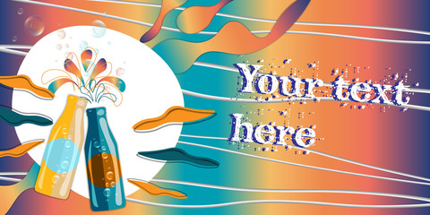 vector horizontal banner with couple of bottles with bubbles