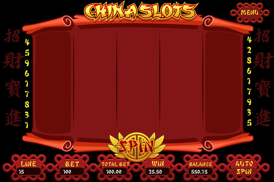 China style Casino slot machine game. Vector complete Interface Slot Machine and buttons on separate layers. Chinese characters representing good luck and fortune