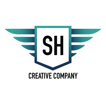 Initial Letter SH Logo Shield Element Template Design Logos