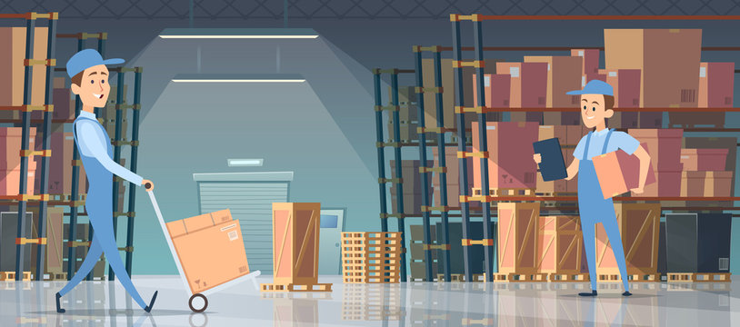 Warehouse interior. Big room with boxes on pallet shelves people loaders working vector inside of warehouse. Storage package box, interior with pallet and large box illustration