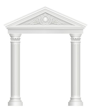 Antique arch. Colonnade palace entrance architectural baroque style vector realistic pictures. Archway architecture, classic pillar, colonnade and arch illustration