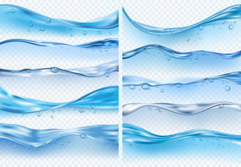 Wave realistic splashes. Liquid water surface with bubbles and splashes ocean or sea vector backgrounds on transparent background Wall mural