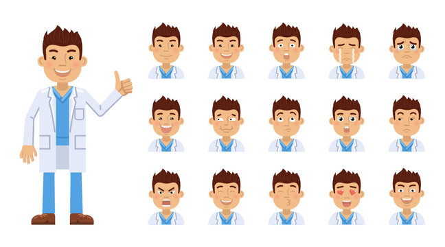 Set of doctor emoticons. Doctor avatars showing different facial expressions. Happy, sad, smile, laugh, cry, surprised, angry, in love and other emotions. Simple style vector illustration
