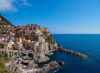 Manarola Village, elevated view, Cinque Terre, UNESCO World Heritage Site, Liguria, Italy