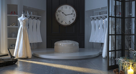 Wedding dress atelier in an elegant Victorian building, with display of wedding dresses and jewelry, fashion, wedding, 3d rendering, 3d illustration