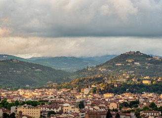 Cityscape at sunset, elevated view, Florence, Tuscany, Italy