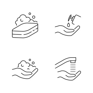 Hand hygiene, hands washing vector icons outline style
