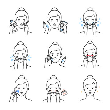 Daily skin care, facial cleansing and moisturizing procedures vector icons set