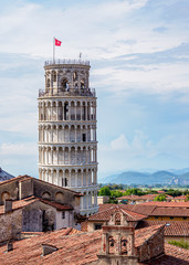Leaning Tower, elevated view, Pisa, Tuscany, Italy