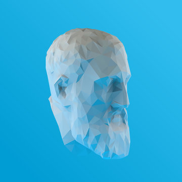 White Plaster Zeno, Founder of Stoicism on Blue Background. Low Poly Vector 3D Rendering