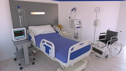 Empty hospital room with empty modenr bed with patient monitoring functions, in the background a wheelchair, 3d rendering, 3d illustration