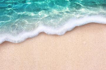 Wall Mural - Soft blue ocean wave or clear sea on clean sandy beach summer concept