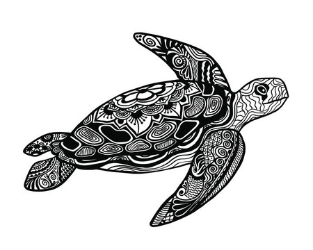 Scoop with a pattern in black color on a white background. Vintage turtle
