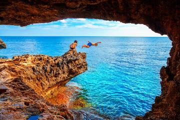 Garden Poster Cyprus Sea cave near Cape Greko of Ayia Napa and Protaras on Cyprus island, Mediterranean Sea.