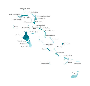 Vector isolated illustration of simplified administrative map of the Bahamas. Borders and names of the regions. Colorful blue khaki silhouettes