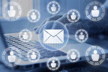 Email and sms marketing concept. Scheme of direct sales in business. List of clients for mailing.