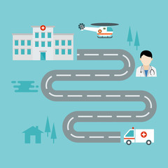 Poster Turquoise map health care