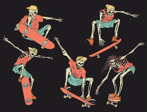 Isolated illustrations set of the skeletons on the skateboard. Color illustration on dark background.