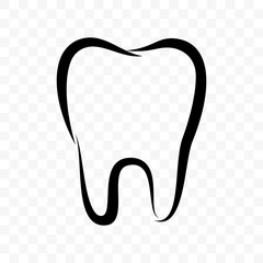 Tooth outline vector icon. Dentistry clinic, toothpaste and dental mouthwash package label, healthy tooth logo