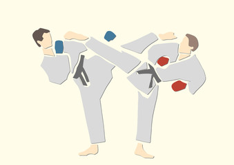 Adult male athletes in kimono. Martial arts. Karate or judo fight. Active poses. Applique or paper cut style. Colorful vector illustration.