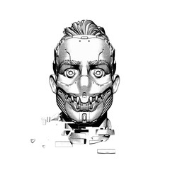 Surreal digital illustration of a cyborg head in a futuristic scary mask with teeth. Artificial face with damaged neck. Sci-fi creative soldier concept artwork. Cyberpunk robot man on white background