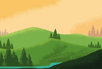 landscape mountainous scene nature icon Wall mural