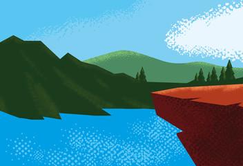 Poster Blauw landscape with lake scene nature