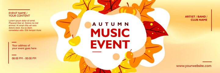 Autumn music banner template for event, festival concert and party
