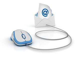3D Envelope with AT Simbol and Computer Mouse - High Quality 3D Rendering