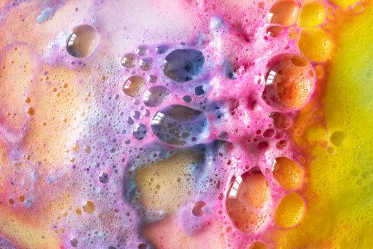 Macro rainbow bubbles of bath bombs texture