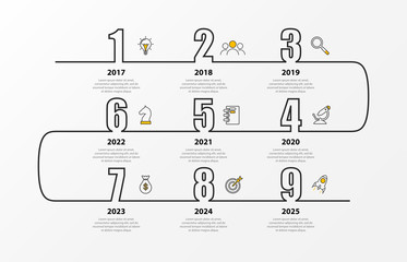 Wall Mural - Infographic design template. Timeline concept with 9 steps