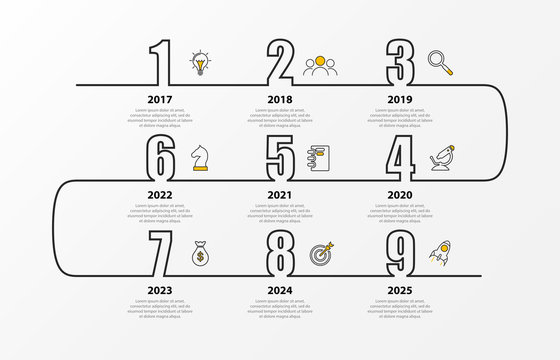 Infographic design template. Timeline concept with 9 steps