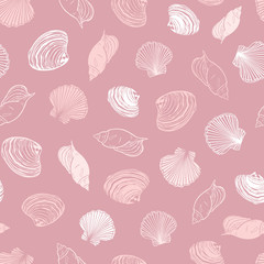 Vector coral pink repeat pattern with variety of seashells. Perfect for greetings, invitations, wrapping paper, textile, wedding and web design.