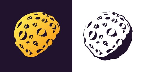 Moon with craters sketch . Hand drawn retro style. Asteroid or planet stamp vector illustration.