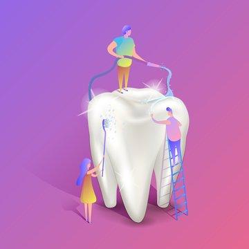 Teeth whitening isometric illustration. Big white healthy tooth
