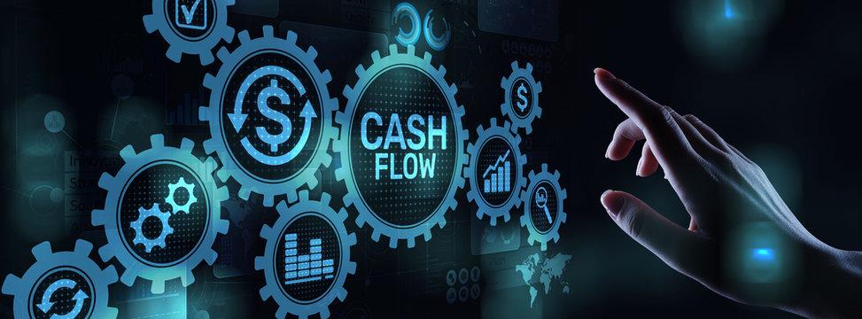 Cash flow button on virtual screen. Business Tehcnology concept.