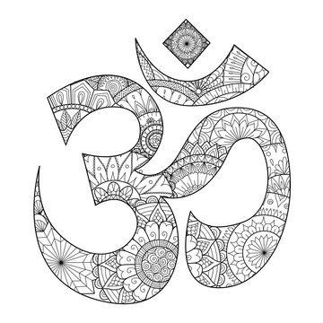 Hand drawn line art inside Ohm,Om or Aum symbol,he most sacred syllable symbol and mantra of Brahman, the Almighty God in Hinduism, indian Diwali spiritual.  Vector illustration.