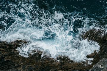 Wall Mural - Ocean sea water wave blue background. Aerial view