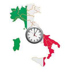 Time Zones in Italy concept. 3D rendering