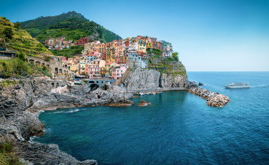 Wall Mural - Manarola town in Cinque Terre, Italy in the summer