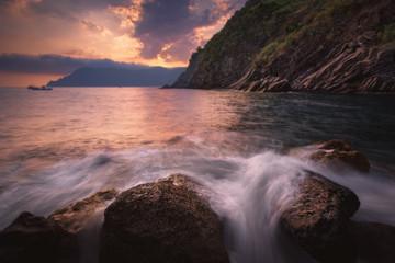 Nature landscape at sunset. Liguria coast at Cinque Terre
