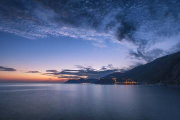 Wall Mural - Nature sea landscape at Cinque Terre, Liguria seascape, Italy in the dusk