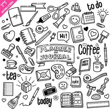 Planner and Journal related object and element collection. Hand drawn doodle illustration isolated on white background. Vector doodle illustration with editable stroke/outline.