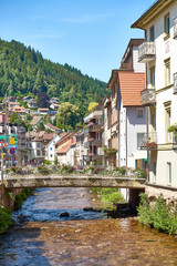 """Downtown of """"Bad Wildbad"""" in the Black Forest in Germany"""