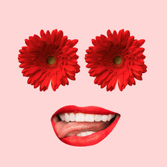 Female face with big red mouth and eyes as a flowers on coral background. Negative space to insert...