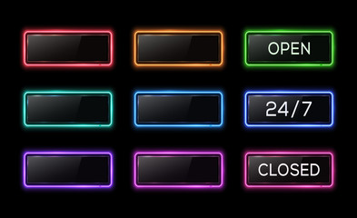 Open 24 7 closed neon sign. Colorful electric led lamp line square frames set on black background. Technology signboard with plastic texture glare plate. Bright retro 1980 style vector illustration.
