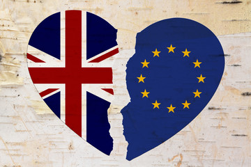 British and EU flags in a broken heart brexit
