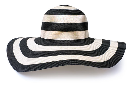 Side of stripe white black floppy beach hat fashion isolated white background. This has clipping path.